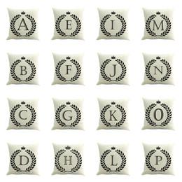 Envío gratuito fundas de cojines 26 letras A-Z Funda de almohada de oficina funda de almohada de algodón y lino tamaño 45 cm * 45 cm desde fabricantes