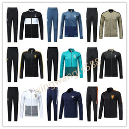 Wholesale mens soccer - Real Madrid soccer jacket tracksuit 2018 2019 France football jackets kits mens 17 18 19 chandal DYBALA HAZARD tracksuit juv Sweatshirt