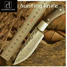 Wholesale forging damascus - 2018 Hunting Knife Damascus steel Nordic Hand Forged Knife Sharp Knives Pattern Steel with High Hardness Full Tang