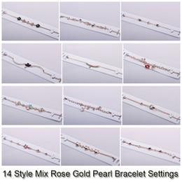 Montures en or en Ligne-14 Styles Perle Bracelet Paramètres Zircon Rose Or Bracelets Pour Femmes Paramètres Montage Bracelet Blanc BRICOLAGE Bijoux DIY Cadeau