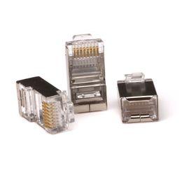 Wholesale Cable Connector Crimp - 50Pcs lot Silver Tone Shielded RJ45 8P8C Network Cable CAT5 End Plug Connector Crimp Plug