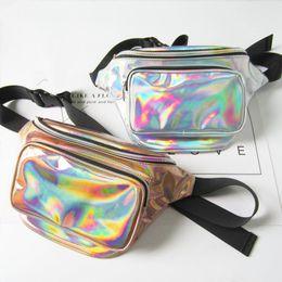 Wholesale Fanny Waist Packs - NEW Fashion Sport Style Unisex Laser Translucent Waist Bag Waterproof Rainbow Hologram PU Metallic Silver Fanny Packs Women Waist Bags