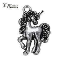 Wholesale Tibetan Silver Pendants Wholesale - My Shape 20pcs Unicorn charms 2017 zinc alloy fancy animal tibetan silver kawaii diy pendants jewelry making necklace