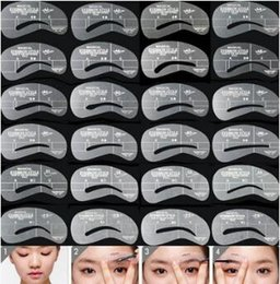 Wholesale Eyebrow Template Shaper - 24 Styles Eyebrow Stencils Grooming Eyebrow Shaping Kit DIY Makeup Shaper Drawing Guide Card Set Template Tool Easy Use CCA8766 300set