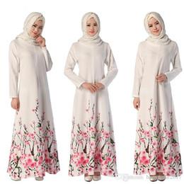 c4acc6de72 Muslim Print Flower Dress Women Abaya Long Sleeve Islamic Clothing Robe  Kimono Turkey Kaftan Instant Hijab Arab Turkish Worship