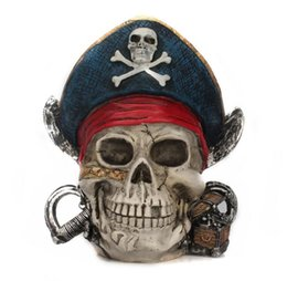 Wholesale Money Gift Boxes - Wholesale Arresting Pirate Captain Shaped Figurine Money Pot Bar Decoration Nice Home Decoration Saving Box Halloween Crafts Gift Free Ship