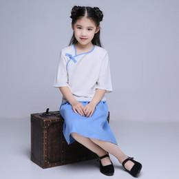 китайские школьницы Скидка Дети китайский традиционный костюм девушка Республика Китай студент школьная форма дети Тан костюм топ + юбка 18