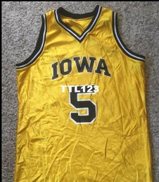 1c67264a8ed8 Men  5 VintageVTG 90 s Iowa Hawkeyes  5 DeLong real Full embroidery College  jersey Size S-4XL or custom any name or number jersey