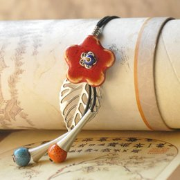 Wholesale Making Porcelain Beads - Ceramic Sweater Chain Hand Made Long Necklace Vintage Glazed Ceramic Flower Rope Bead Clothing Pendant Creative Fashion Women Jewelry 2Color