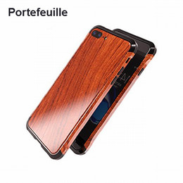 Wholesale Wood Iphone Bumper - Portefeuille For Iphone 7 Wood Metal Case Aluminium Alloy Protective Bumper Case For Apple Iphone 8 Plus 6 6s Frame Accessories