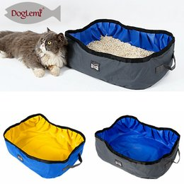 Wholesale pet cat toilet - Foldable Oxford Cat Litter Box Open Convenient Bedpan Animal Pet Dog Receptacle Outdoor Loo Toilet Equipment AAA747