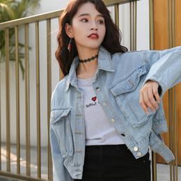 c73354e5590d4 Short Big Pocket Single Breasted Blue Denim Jacket Autumn Women Coats 2018  Women s Loose Jeans Jackets and Coats High Quality