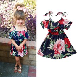 e2734b6dabbe Kids Clothing Vintage Flower Dress Girls Dresses Fashion Off-shoulder Dress  Baby Girl Clothes Children Summer Clothing