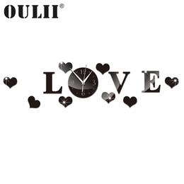 Wholesale Clock Stickers For Wall - OULII DIY Acrylic Wall Clock Mirror Stickers For Home Living Room Office Decor Wall Clocks Home Decor