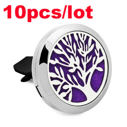 Wholesale Felt Clips - 10PCS Lot Tree of Life Car Aromatherapy Essential Oil Diffuser With 1pc Felt Pad 316L Stainless Steel Car Perfume Air Freshener Vent Clip