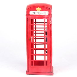 Wholesale antique metal telephones - Mettle New British style united kingdom red Metal Craft Antique Iron Telephone Booth Model Ornaments