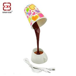 Wholesale Lighted Coffee Table - Pouring Coffee Cup Pattern LED Light Table Lamp for House Ornament