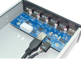 fdd externo Desconto L 6 Portas USB 3.0 + USB2.0 5.25 Polegada Floppy Bay Painel Frontal Com Adaptador de Energia USB 3.0 Hub Spilitter 4 Portas ubs3.0 + 2 Portas USB2.0