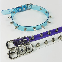 Wholesale Spike Punk Collar - whole saleWholesale Handmade Punk Gothic Blue Purple Pink Vinyl Transparent Spikes Choker Clear PVC Collar Necklace