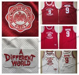 basquete mundial Desconto Mens Dwayne Wayne 9 Hillman College Theatre Camisa de Basquete Moive Um Mundo Diferente KADEEM HARDISON Dwayne Wayne Costurado Camisa De Basquete