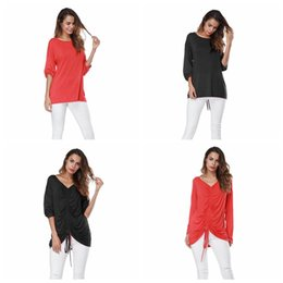 Wholesale lace long sleeve shirt wholesale - Women Solid Long Sleeve T-Shirt Round Neck Summer Sexy Lace Up Strings Loose Top Tees LJJO4123