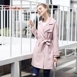 Wholesale Trench Coat For Women Pink - Qunitina 2017 New Fashion Trench Coat For Women Slim Long Style Full Sleeve Autumn Trench Coat Women