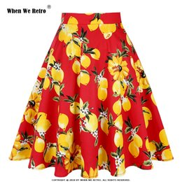 2019 giostre gialle Quando We Retro Women Lemon Skirts Red Bottom Yellow Lemon Stampato a vita alta Swing Rockabilly pieghe Midi Gonne una linea giostre gialle economici