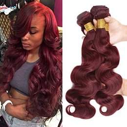 Wholesale Cheap Red Human Hair Extensions - 4PCS Lot 8-30Inch Grade 8A Burgundy Peruvian Body Wave Virgin Human Hair Weave Bundles Wine Red 99J Cheap Remy Hair Extensions Double Wefts
