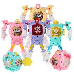 Wholesale Toy Plastic Watches - Deformation Non-Toxic Children Wristwatch Toy Children Sports Cartoon Watches Kids Xmas Gifts Cute Robot Transformation Toys
