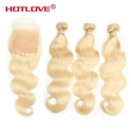 Wholesale Bleach Dye - HOTLOVE Brazilian Remy Human Hair Pure Color Blonde Hair 3 Bundles With 4*4 Lace Closure Free Part With Baby Hair 613 Body Wave