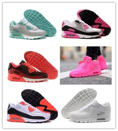 Wholesale cheap flat ladies shoes - Wholesale Women 90 Sneakers Shoes cheap classic 90 Ladies Air Running Shoes Black Pink White Trainer Sports Shoes