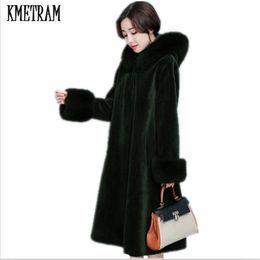 Wholesale Women Beige Coat Cashmere - KMETRAM 2017 Winter Women Big fur Hooded Fur Coat Fashion Warm Long-sleeved Faux Coat Female Flocking Plus Size HH453