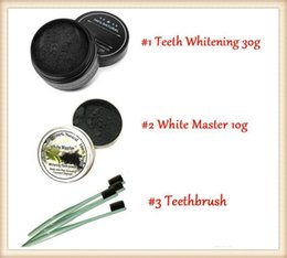Wholesale Natural Toothbrushes - Hot Newest All Natural and Organic Activated Charcoal Teeth Cleaning Tooth and Gum Powder + toothbrush set Total teeth Whites 30g