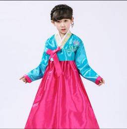 Roupa tradicional coreana on-line-6 cores criança hanbok traje coreano azul tradicional coreano vestuário concorrência dress
