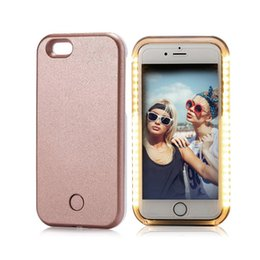 Wholesale Iphone Battery Case Pink - Custom illuminated Two LED Flashing Light Up Selfie Phone Case For iPhone 5 6 7 Selfie Back Cover Case