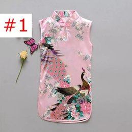 Wholesale Girls Qipao - Chinese Style Girls Peacock Dress Newest Flower Birds Cotton Children's Clothing Kid's Qipao Dress Vintage Baby Clothing Fashion Flower B11