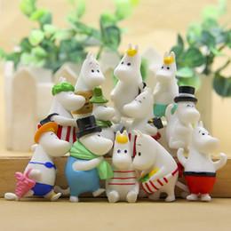 Casas de hadas bricolaje online-Modern 12pc Hippo Moomin Family Miniatura Fairy Garden Home Homes Decoración Mini Craft Micro Landscaping Decor Diy Accesorios