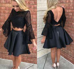 2019 Sexy Black Juliet maniche lunghe Homecoming Prom Dress Breve gioiello collo Sequin in rilievo Due pezzi Satin Party laurea Cocktail Dress da