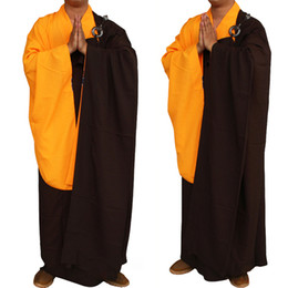 Одежда монахов онлайн-New Unisex Buddhist Monk Robe Zen Meditation Monk Robes Shaolin Temple Clothes  Uniform Suits Costume Robes