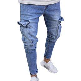 2019 marchio caldo delle tasche Jeans da uomo di marca degli uomini di modo dei nuovi uomini 2018 casuali dimagriscono i jeans attillati diritti smal-piedi dei pantaloni skinny caldi di vendita calda marchio caldo delle tasche economici