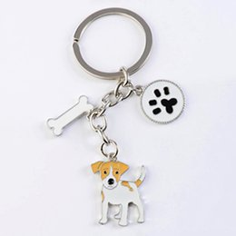 Wholesale Girls Jack - Jack Russell Terrier key chains for women men girls silver color metal alloy dog pendant bag charm car keychain key ring holder