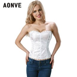 Корсет нижнего белья онлайн-AONVE White Steampunk Corset Sexy Up Corselet Lace Sexy Corset Underwear Lingerie Dress Push Up Cosplay Wear for Party