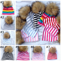 Wholesale Baby Winter Fur Hat - Baby Hats Children Winter Fur Pompoms Ball Newborn Baby Warm Beanies Cap Kids Knitted Pompom Hat Xmas Gifts for Baby 200pcs YYA970