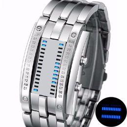2019 relógio led binário Homens Mulheres Aço Inoxidável Criativo LED Data Pulseira Assista Binary Wristwatch desconto relógio led binário