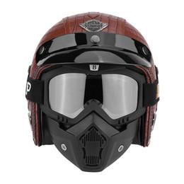 7f01c8969a9 Motocicleta cara abierta medio casco 3 4 Chopper Bike Helmet cara abierta  Vintage motocicleta cuero de la PU con máscara de anteojos