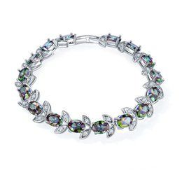 Wholesale handmade gemstone bracelets - Mystic Topaz Handmade Silver gemstone jewelry bracelets & bangles B1039