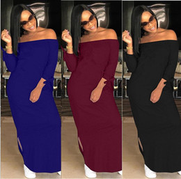 842ff96092c brand designer maxi dress women long sleeve long skirts loose strapless  slash neck dresses print letter women fall winter clothes dhl
