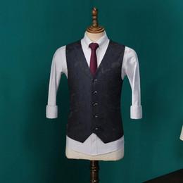 Wholesale Mens Embroidered Wedding Suits - New Mans Vest Male Korean Mens Slim Vests Jacquard Embroidered Waistcoat Wedding Dress Blue Suit Vest For Men CBMJ019