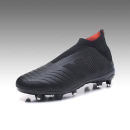 Wholesale Blackout Soccer Cleats - Predator 18+ Blackout Men Soccer shoes Firm Ground Knit upper Boots Youth Football boots Women Soccer cleats