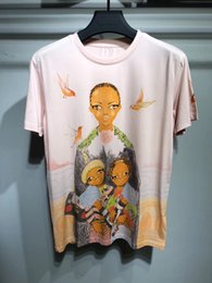 Wholesale Girls Short Sleeve Tees - 2018 new summer brand men t-shirt Illustration theme three girls like printing T-shirt White collar short sleeves man Tops Hipster Tees